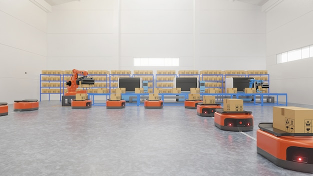 Automazione di fabbrica con agv e braccio robotico in trasporto per aumentare il trasporto in sicurezza.