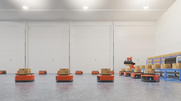Automazione di fabbrica con agv e braccio robotico nel trasporto per aumentare il trasporto in sicurezza.