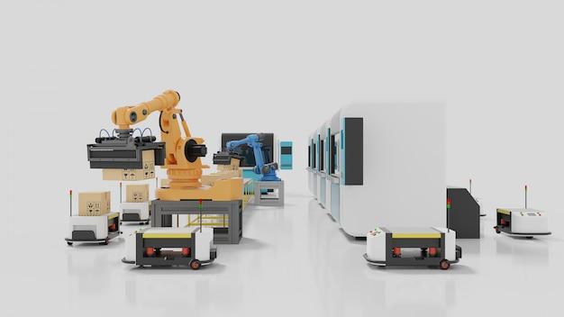 Automazione di fabbrica con agv, stampanti 3d e braccio robotico
