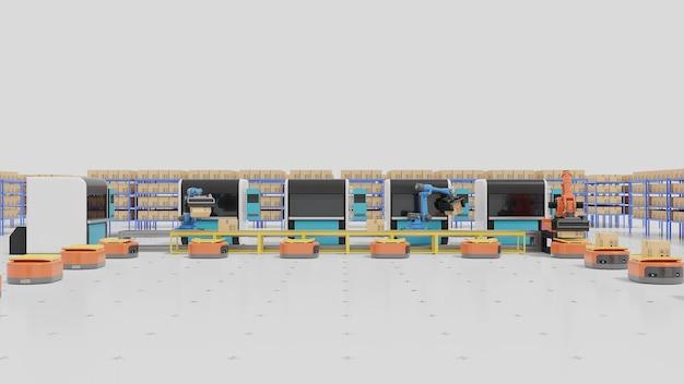 Automazione di fabbrica con agv, stampanti 3d e braccio robotico.