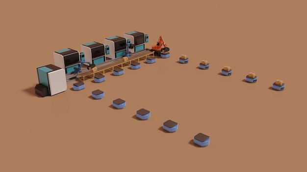 Automazione di fabbrica con veicolo a guida automatica e braccio robotizzato.