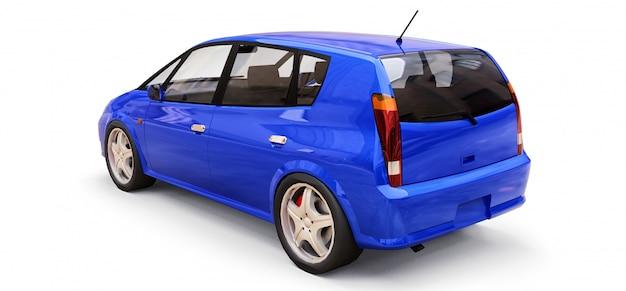 Automobile blu della città con superficie in bianco per il vostro disegno creativo. illustrazione 3d