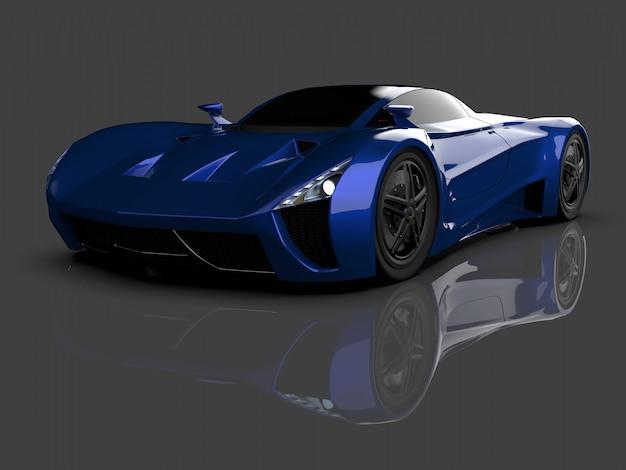 Automobile blu di concetto di corsa immagine dell'automobile su lucido grigio