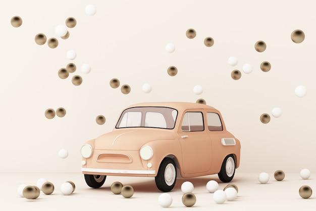 Automobile classica rosa che circonda dall'oro e dalla rappresentazione bianca della palla 3d