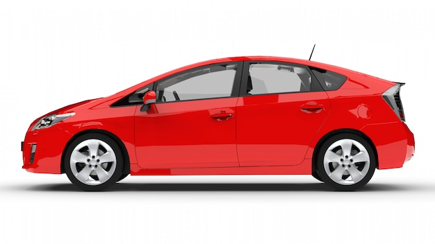 Automobile ibrida moderna della famiglia rossa su una priorità bassa bianca con un'ombra sulla terra