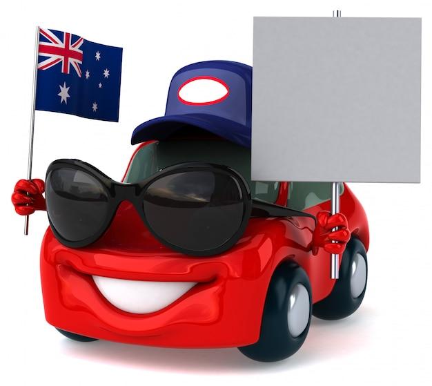 Automobile illustrata divertimento che tiene la bandiera dell'australia e un cartello in bianco