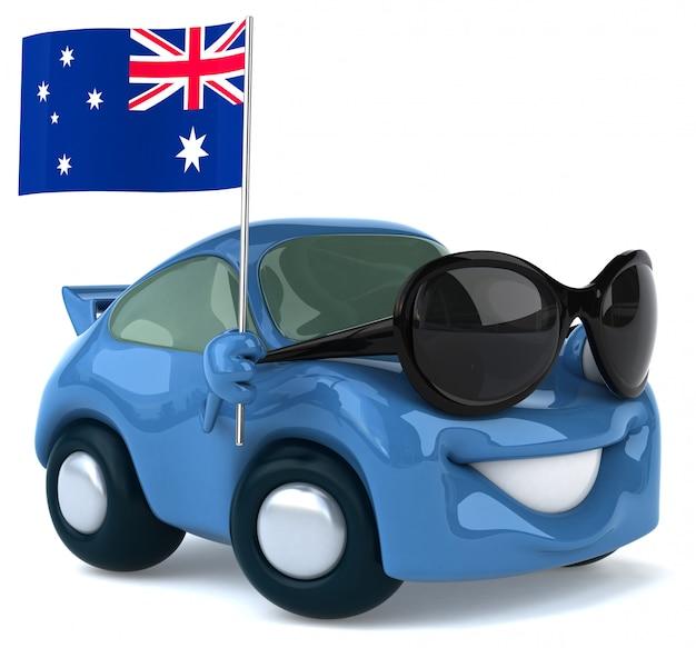 Automobile illustrata divertimento che tiene la bandiera dell'australia