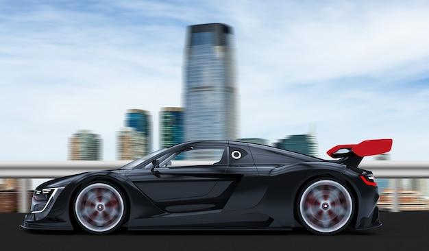 Automobile sportiva nera in una città
