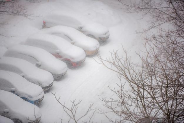 Automobili coperte di neve su un parcheggio