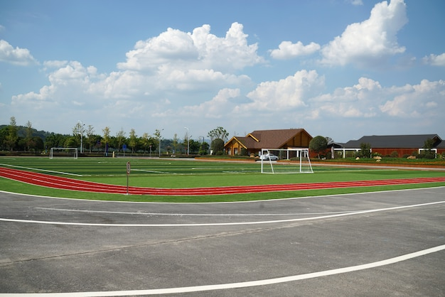 Autostrada e stadio nella sala espositiva all'aperto