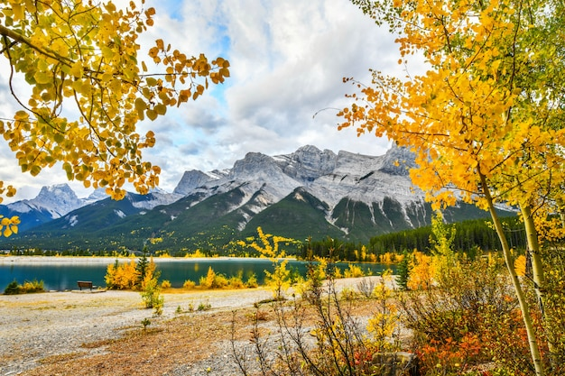 Autumn landscape spray lakes, canmore alberta, canada