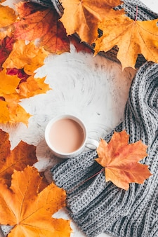 Autunno casa accogliente composizione una tazza di caffè con foglie di acero. vista dall'alto