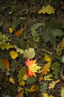 Autunno concetto sfondo tradizionale carta artigianale origami fatti a mano foglie di acero cadute natura immagine di backround topshot colorato perfetto per l'uso stagionale