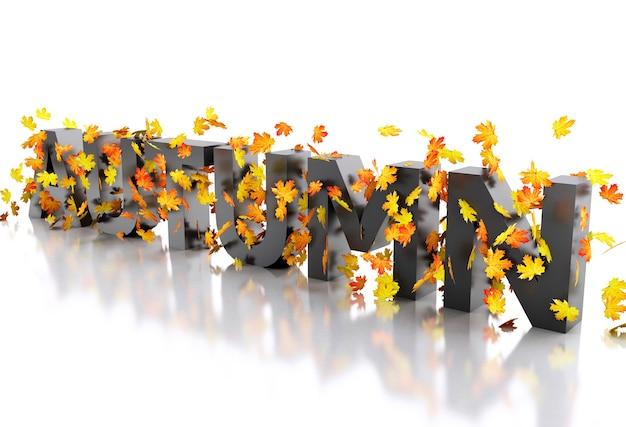 Autunno di parola 3d decorato con foglie.