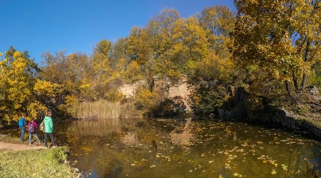 Autunno nel parco sofiyivka in uman, ucraina