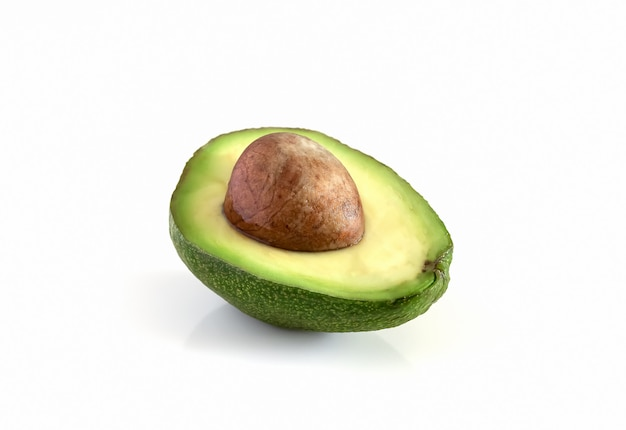 Avocado maturo biologico naturale. mezzo avocado su sfondo bianco.