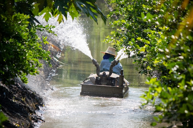 Azienda agricola d'innaffiatura con la barca nella tecnologia dell'agricoltura della tailandia