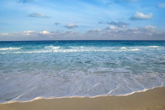 Azzurro tropicale della spiaggia del turchese del mare caraibico
