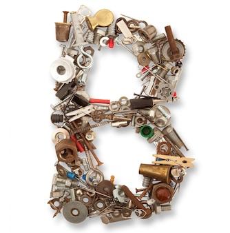 B lettera meccanica isolata