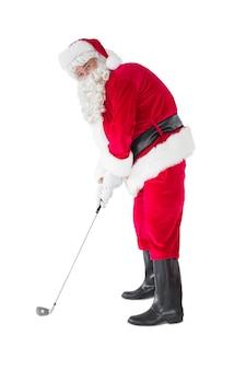 Babbo natale felice giocando a golf