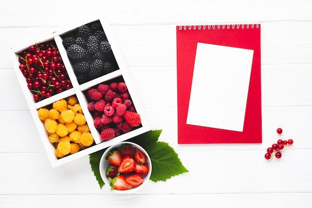 Bacche fresche piatte con blocco note