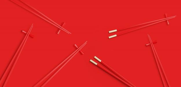Bacchette rosse su sfondo rosso. illustrazione di rendering 3d.