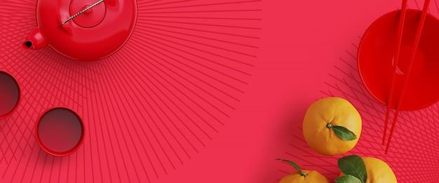 Bacchette rosse, teiera, arancia. rendering 3d illustrazione dello sfondo