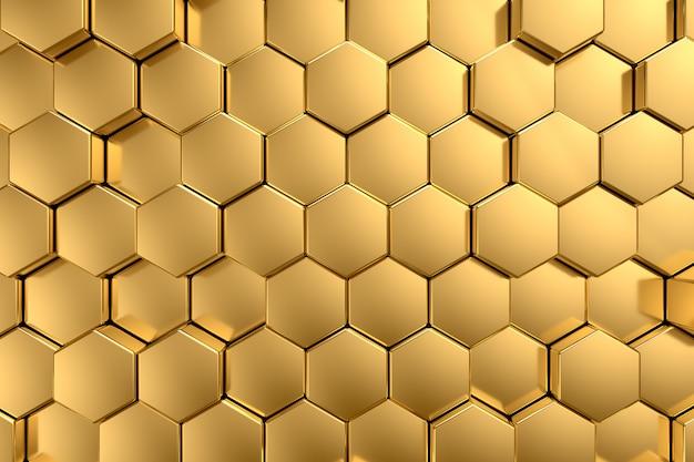 Backgound in metallo oro giallo esagonale