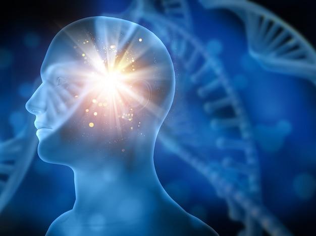 Background medico 3d con filamenti di dna sfocate e testa maschile