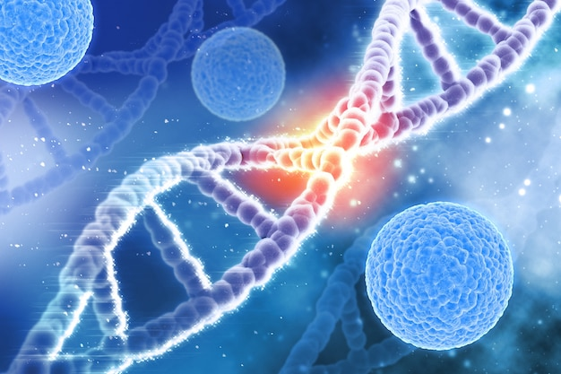 Background medico 3d con le cellule di virus e filamenti di dna