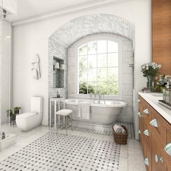 Bagno della progettazione di legno e delle mattonelle della rappresentazione 3d vicino alla finestra con il muro di mattoni dell'arco