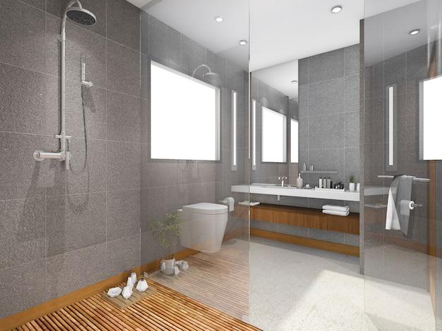 Bagno di stile tropicale della rappresentazione 3d con le mattonelle di pietra