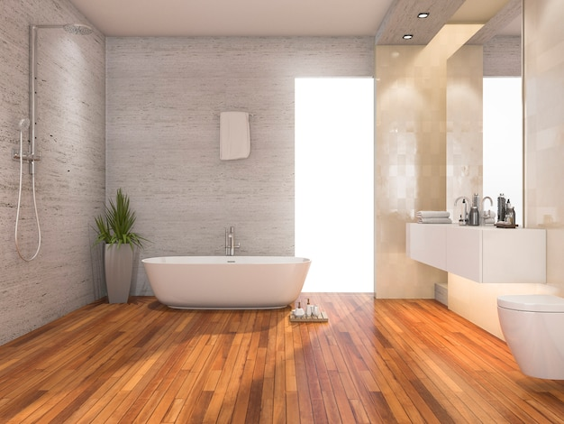 Bagno e doccia luminosi di legno della rappresentazione 3d con la decorazione moderna