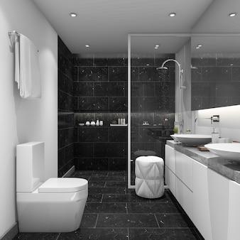 Bagno in stile moderno con piastrelle scure
