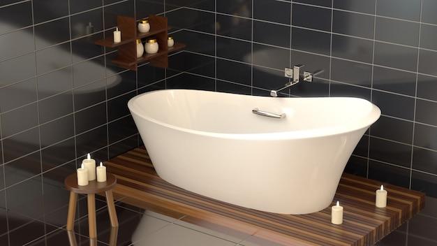 Bagno moderno con bagno in ceramica con candele.