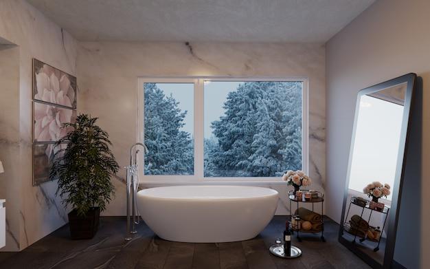 Bagno moderno di lusso con ampie finestre che si affacciano sulla natura.