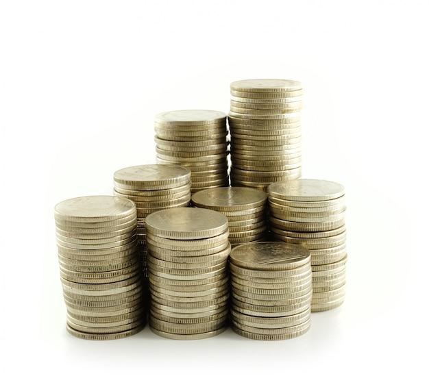 Bagno tailandese della moneta sulla parete bianca