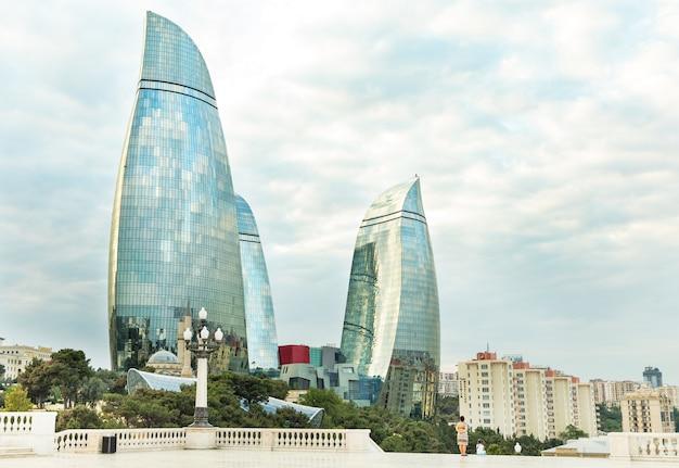 Baku flame towers vista dall'highland park