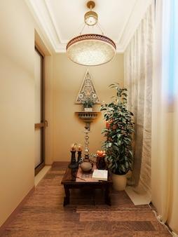 Balcone chiuso con un tavolino basso con un narghilè e un vaso di fiori