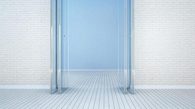 Balcone e stanza vuota sul tono bianco - rappresentazione 3d
