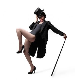 Ballerina di cabaret con cappello a cilindro