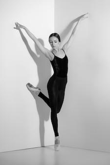 Ballerina in attrezzatura nera che posa sulle scarpe del pointe, fondo dello studio.