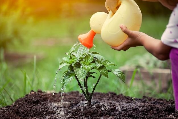 Bambina che innaffia giovane albero con l'innaffiatoio nel tono d'annata di colore