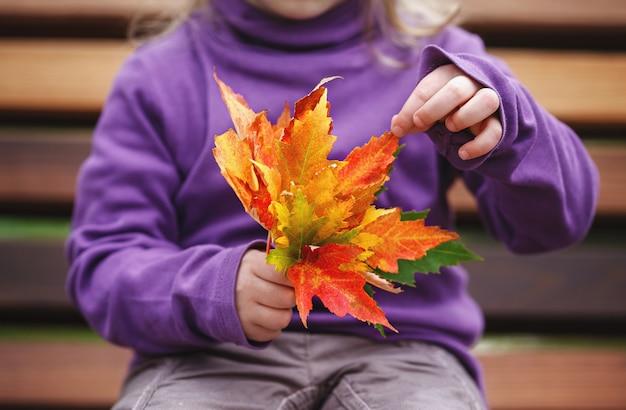 Bambina che si siede su una panchina nel parco e che tiene in mano un mazzo di foglie colorate d'autunnali.