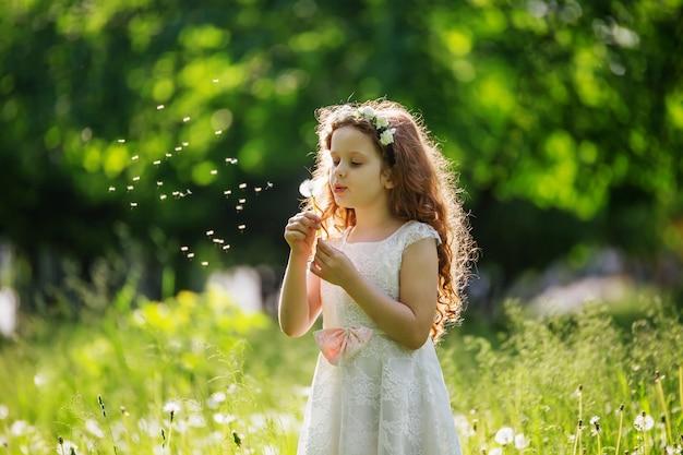 Bambina che soffia dandelion bianco nel prato.