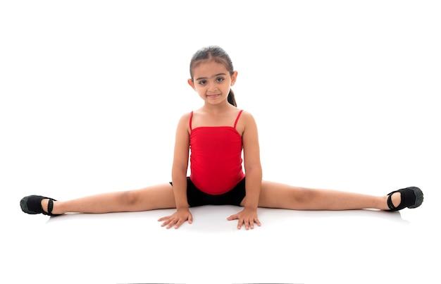 Bambina di ginnastica spaccata completa