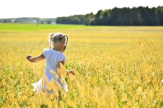 Bambina romantica in vestito bianco che cammina sull'erba nel campo sul tramonto, guardando verso il basso, vista posteriore
