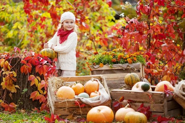 Bambina sveglia che gioca con le zucche nel parco di autunno. attività autunnali per bambini