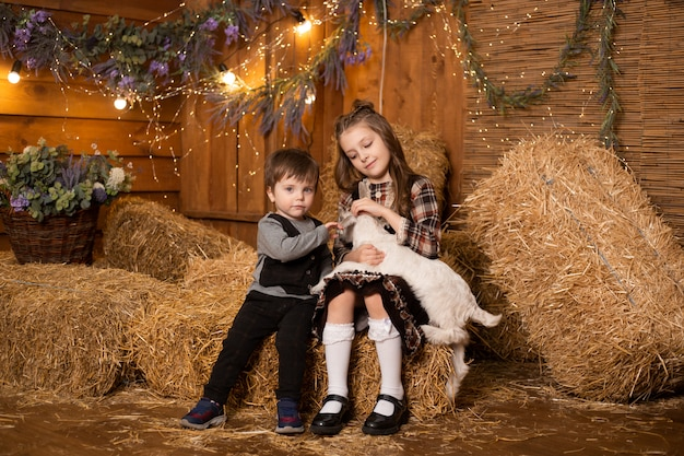 Bambini che giocano con la capra bambino in una tettoia in fattoria sullo sfondo di fieno