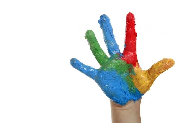 Bambini colorati dipinti a mano su bianco